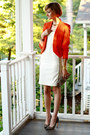 White-fitted-adam-dress-carrot-orange-bright-zara-blazer