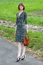 brown dvf dress - white American Apparel tights - brown Pour La Victoire shoes -
