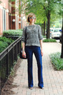 Navy-flared-j-brand-jeans-heather-gray-open-knit-elizabeth-and-james-sweater