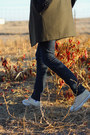 Olive-green-mango-coat-navy-skinny-h-m-jeans-white-striped-jigsaw-sweater
