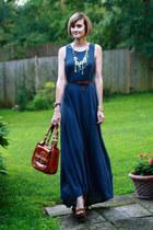 tawny saddlebag bally bag   navy maxi dress patterson j kincaid dress