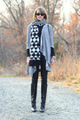 Black-knee-high-boots-karen-millen-boots-silver-striped-joie-sweater