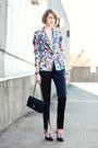 Bubble-gum-floral-print-zara-blazer-black-quilted-chanel-bag