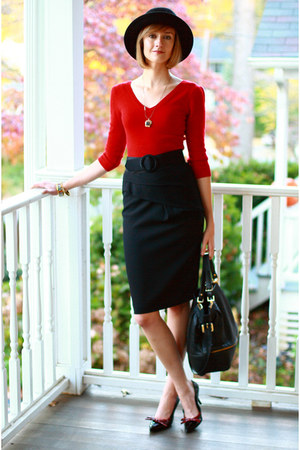 ruby red Bebe sweater - black Reiss skirt - black Boyy - black H&amp;M hat - black P