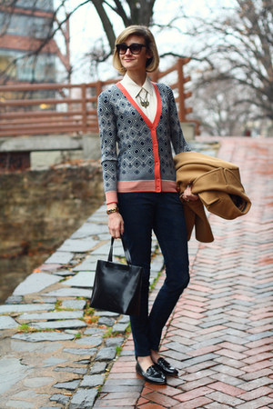 navy print tory burch cardigan - mustard peacoat Brooks Brothers coat
