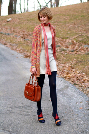 red Missoni sweater - gold H&amp;M dress - gold Hermes bracelet - blue American Appa