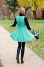 Black-ferragamo-boots-aquamarine-flared-skirt-romwe-dress
