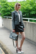 gray shoulder bag loeffler randall bag - gray boucle moto banana republic jacket