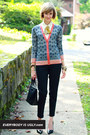 navy bold print tory burch cardigan