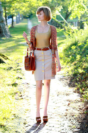 red Missoni cardigan - gold vintage top - beige H&M skirt - brown Urban Outfitte