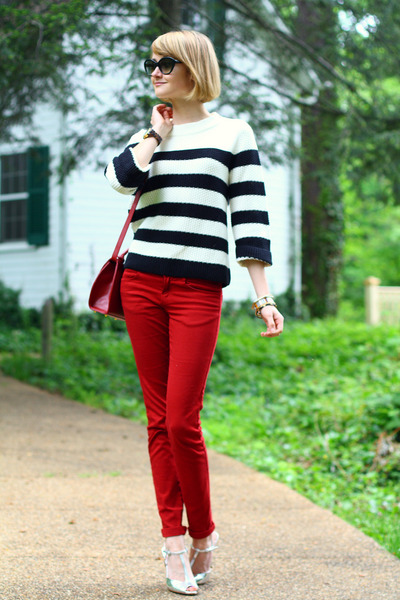 white striped Jigsaw sweater - red skinny Zara jeans