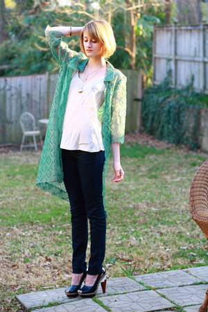 chartreuse lace vintage jacket - navy skinny H&amp;M jeans - ivory slip vintage top