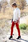 Black-suede-zara-boots-ruby-red-skinny-zara-jeans