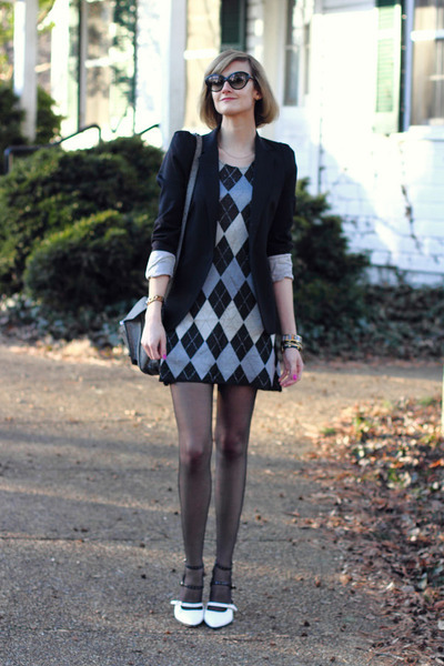 black tailored Zara blazer - silver vintage dress