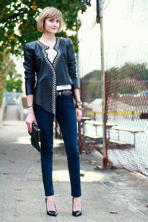 black studded leather surface to air jacket - white t-shirt StyleMint top