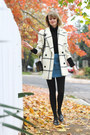 black mini Sophie Hulme bag - cream plaid vintage coat