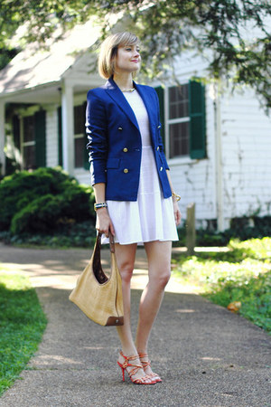 navy fitted Zara blazer - white netted BCBG dress