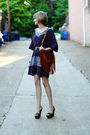 Purple-sunner-dress-black-vintage-belt-brown-miu-miu-shoes-brown-urban-out