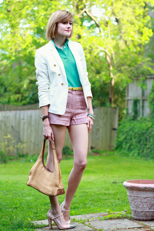 salmon Cooperative shorts - ivory double-breasted Zara blazer