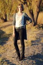 black concho belt vintage belt - black suede ankle Zara boots