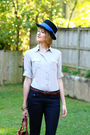 Black-vintage-hat-blue-h-m-jeans-brown-bally-bag-brown-h-m-belt-beige-h-