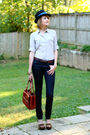 Black-vintage-hat-blue-h-m-jeans-brown-bally-bag-brown-h-m-belt-beige-h-