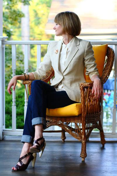 beige Joseph Picone blazer - beige vintage blouse - orange vintage accessories -