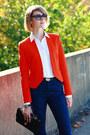 Navy-j-brand-jeans-carrot-orange-bright-zara-blazer-black-quilted-chanel-bag