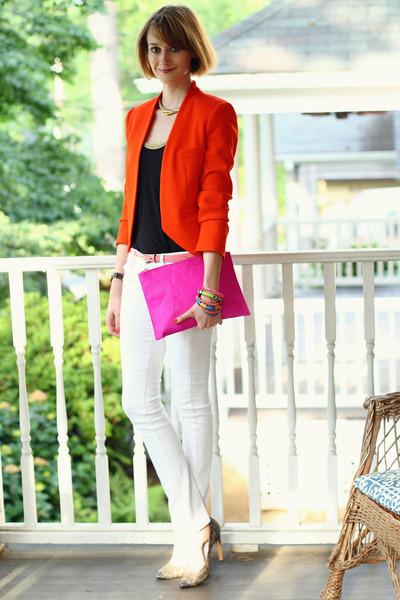 carrot orange structured Zara blazer - white skinny jeans Mango jeans