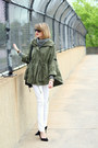 White-skinny-jeans-mango-jeans-olive-green-military-jacket-topshop-jacket