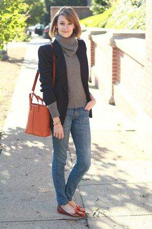 tote romwe bag - skinny Current Elliott jeans - cowl neck thrifted sweater