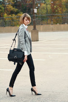 black shoulder bag Saddleback Leather bag - silver sparkly Zara blazer