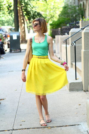 yellow pleated romwe skirt - brown cat eye random boutique sunglasses