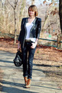 Army-green-lace-up-booties-tory-burch-boots-navy-skinny-h-m-jeans-black-stud