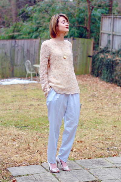 light pink vintage sweater - neutral origami karen millen heels - sky blue pajam