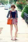 Carrot-orange-tote-romwe-bag-salmon-woven-cooperative-shorts