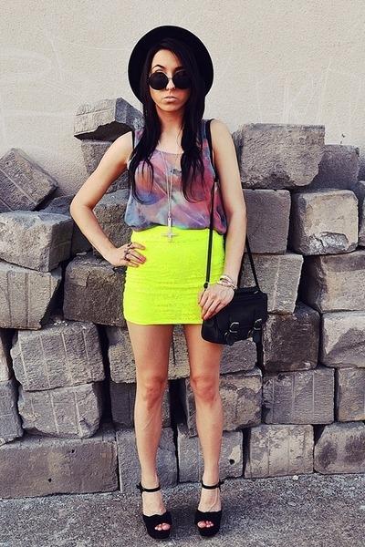 yellow Bershka skirt - black H&M hat - blue wwwsheinsidecom blouse
