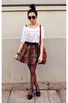 dark brown wwwoasapcom skirt - white wwwuniversalpixelse t-shirt