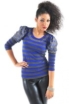 Blue Stripe Embellished Top