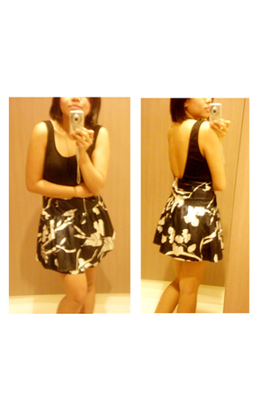 unitard - jersey high waisted floral skirt