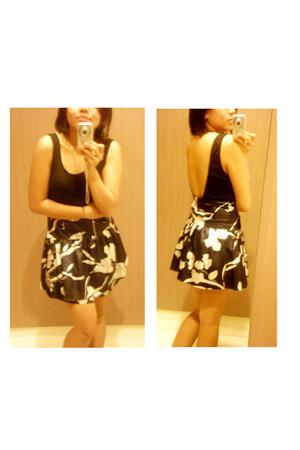 unitard - jersey high waisted floral skirt