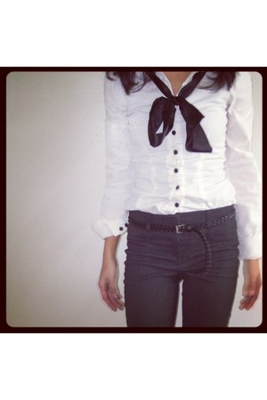 white H&M blouse