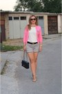 Lindex-shorts-zara-top-j-crew-cardigan-aldo-wedges-chanel-accessories