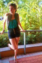 blue Mango shorts - green Forever 21 shirt - gray Forever 21 vest - silver bouti