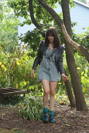 green vintage dress - green Forever 21 socks - brown Target shoes - black Foreve