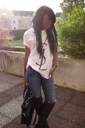 faux yves st laurent shirt - jeans - Newlook boots - accessories