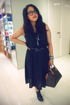 black Monki dress - nation Jeffrey Campbell boots - speedy Louis Vuitton bag