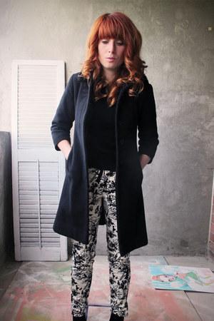 black full collar coat - toile Zara pants