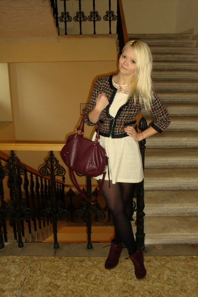 black H&M blazer - eggshell monteau dress - maroon H&M bag