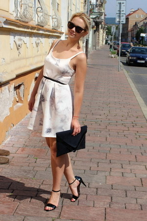 black H&M bag - off white Pimkie dress - dark brown c&a sunglasses